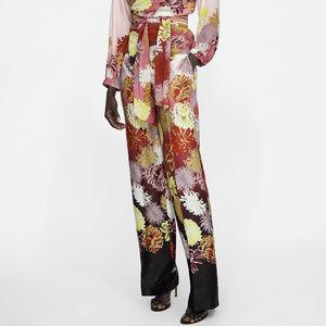 NWT Zara Floral Wide Leg Satin Pants